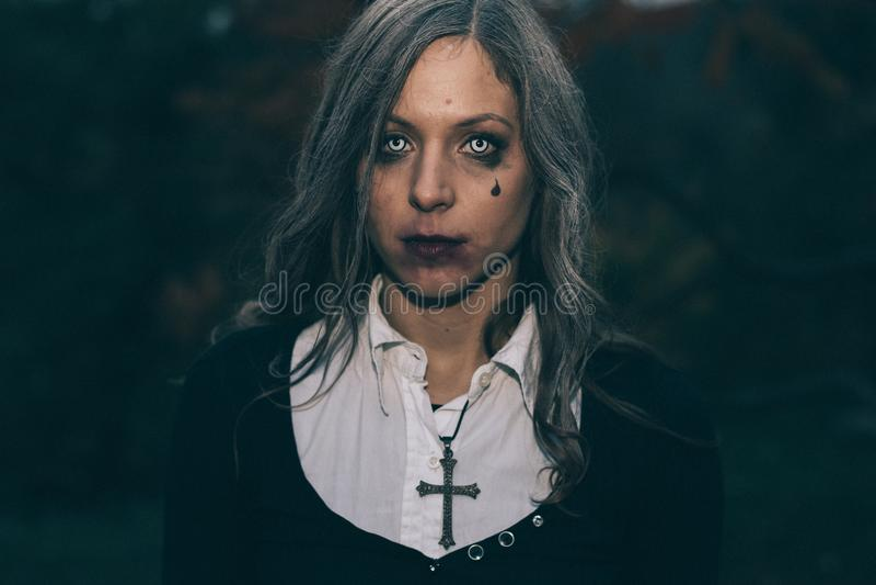 Halloween portrait of creepy woman stock photo
