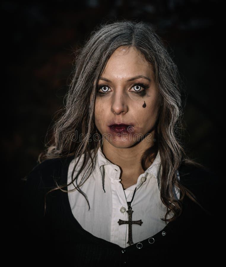 Halloween portrait of creepy woman stock photos
