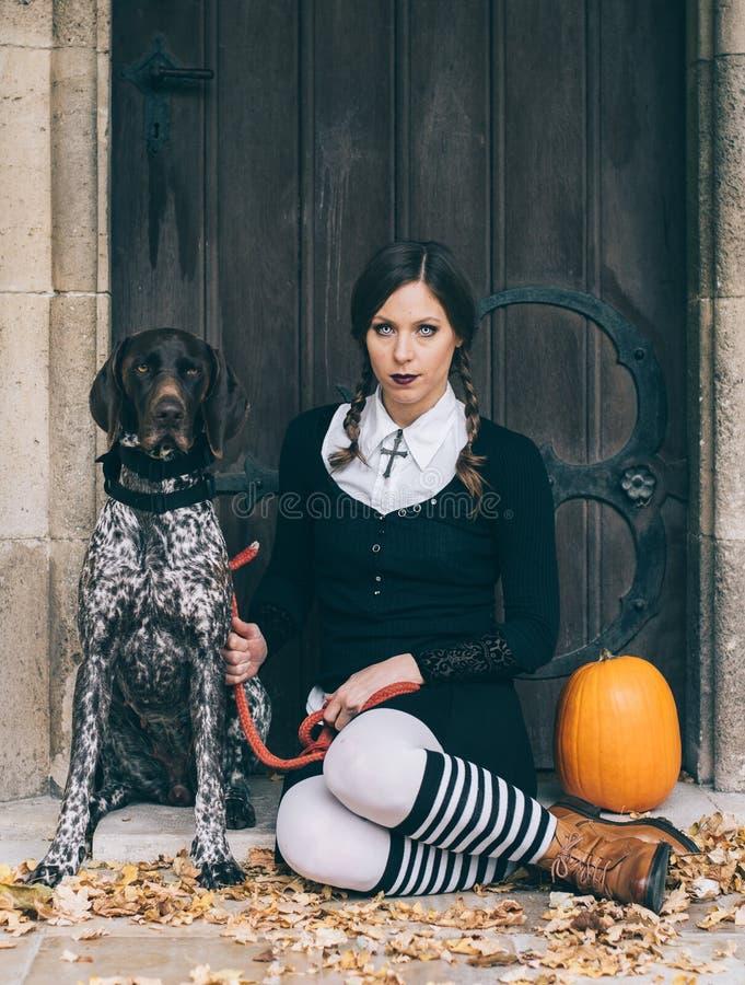 Halloween-portret van griezelige vrouw royalty-vrije stock foto's