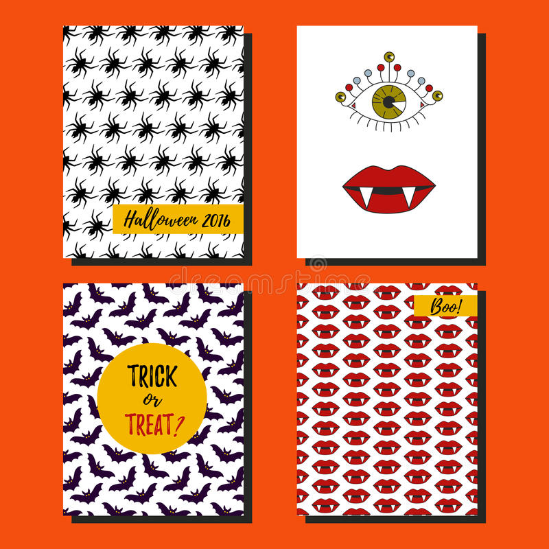 Halloween post cards collection stock illustration