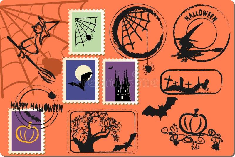 Download Halloween postage set stock vector. Image of grunge, postage - 10672386