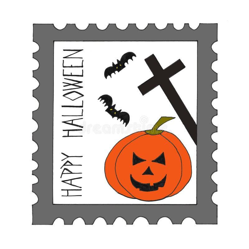 Download Halloween postage stamp. stock illustration. Illustration of ghost - 26115944