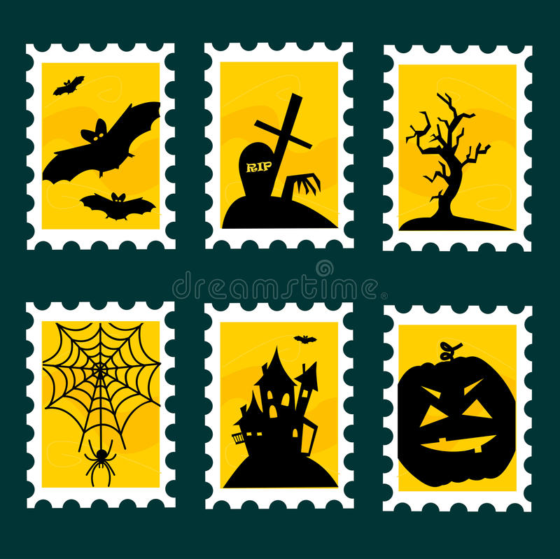 Download Halloween postal stamps stock vector. Image of castle - 21073722