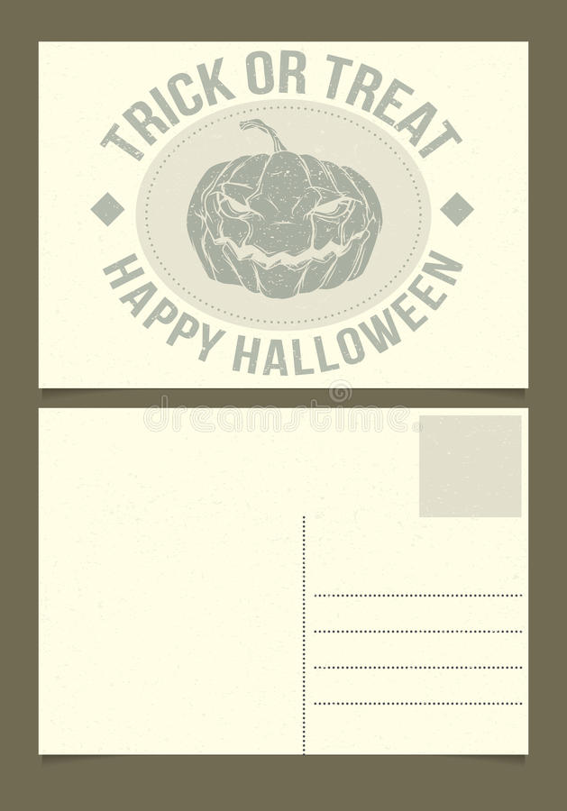 Halloween Postcard Template Front And Back Sides
