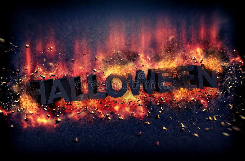 Halloween poster with burning hot flames. Dramatic Halloween poster with burning hot flames and fiery explosive sparks on a dark background with text - Halloween royalty free stock images