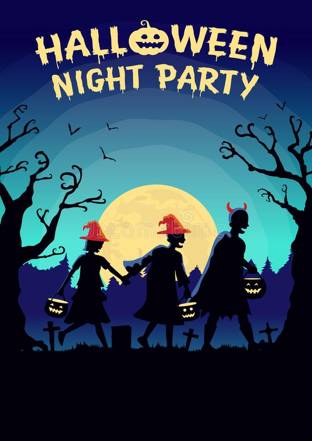 Halloween poster with Children group wearing fancy clothes and hat as witch carrying a pot to solicit gifts at night. stock images