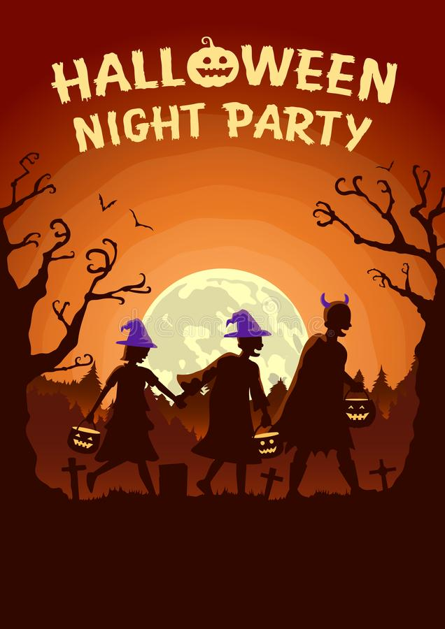 Halloween poster with Children group wearing fancy clothes and hat as witch carrying a pot to solicit gifts at night. royalty free stock photography