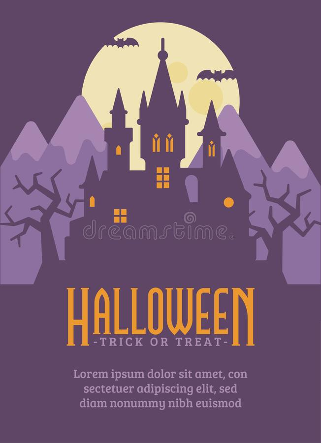 Halloween poster with dark vampire castle in the mountains vector illustration