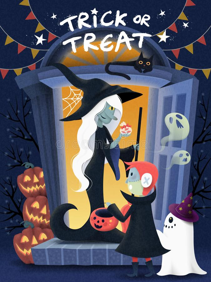 Halloween poster design. A kid wearing monster costume and visits witch house for candies, pumpkin and spooky elements royalty free illustration