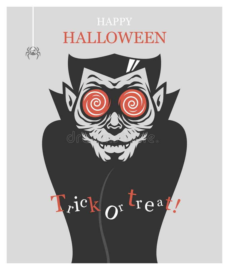 Halloween poster with Dracula vampire stock photography