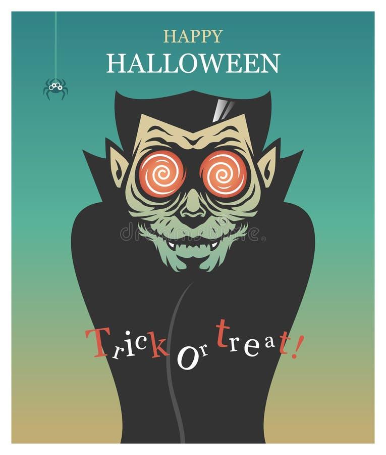 Halloween poster with Dracula vampire in retro style stock photos