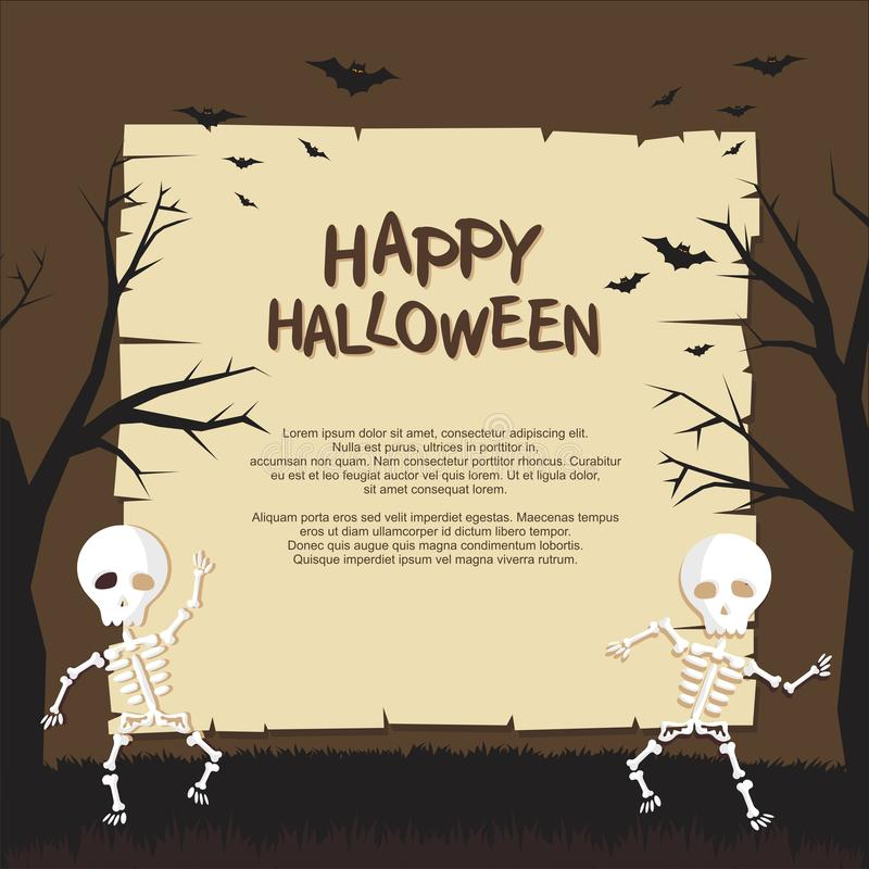 Halloween Poster with Funny creepy cartoon style design vector illustration