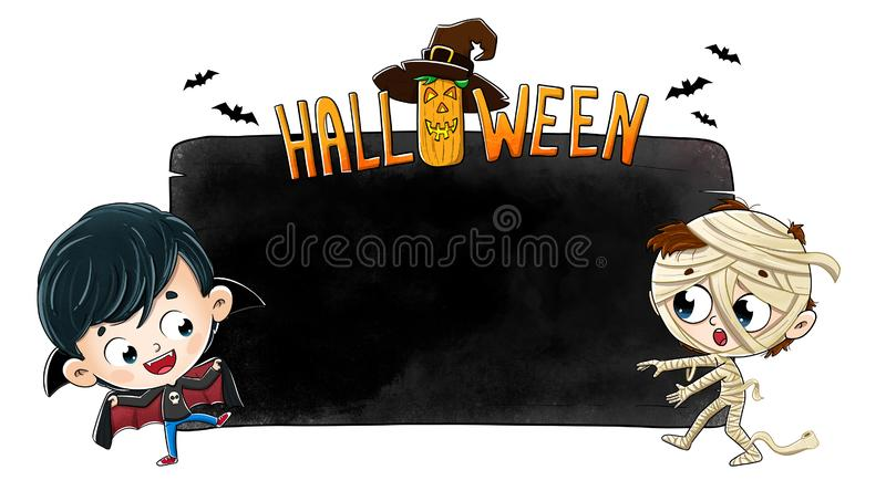 Halloween Poster with Kids in Costume royalty free stock image