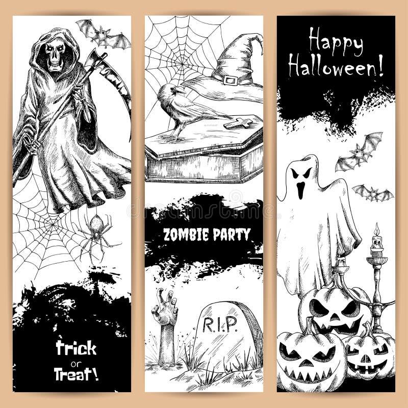 Halloween-Poster mit skizzierten schwarzen Elementen lizenzfreie abbildung