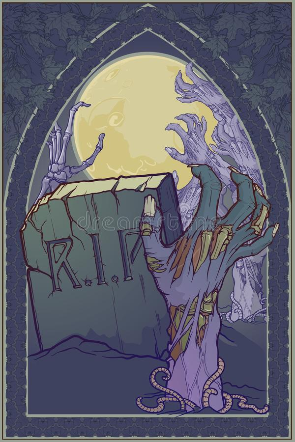 Halloween poster. Moonlit cemetery with a tombstone and rotting zombie hand rising from the ground. Intricate gothic. Style frame. Conceptual art. EPS10 vector royalty free illustration