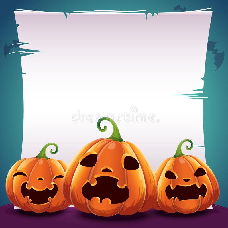 Halloween poster with realistic pumpkins on dark blue background with text place on sheet of paper, parchment and with. Halloween poster with realistic pumpkins royalty free illustration