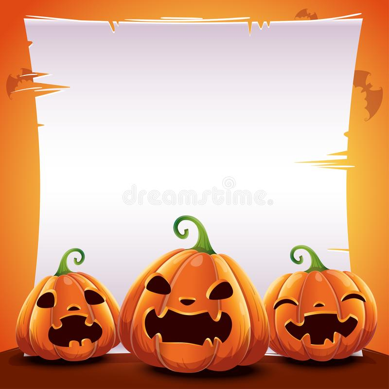 Halloween poster with realistic pumpkins on orange background with text place on sheet of paper, parchment and with bats. Vector i. Halloween poster with vector illustration