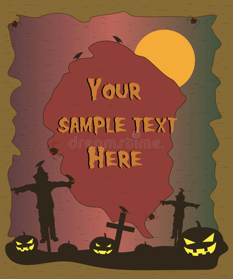Halloween poster with scarecrow and pumpkins silhouettes. Halloween background. Vector vector illustration