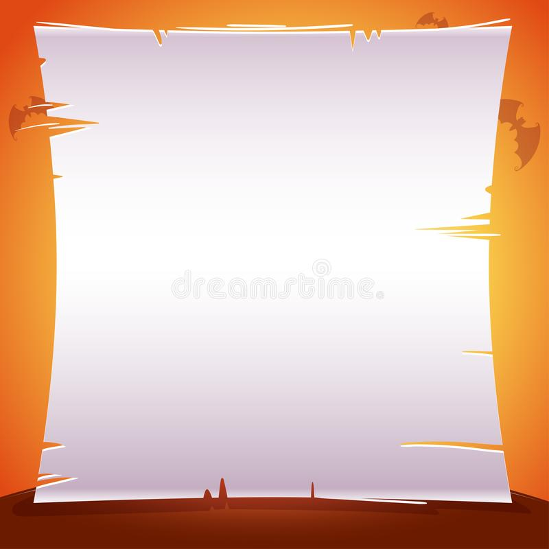 Halloween poster with sheet of paper, parchment, text place on orange background with bats. Vector illustration for posters, banne. Rs, invitations, advertising vector illustration