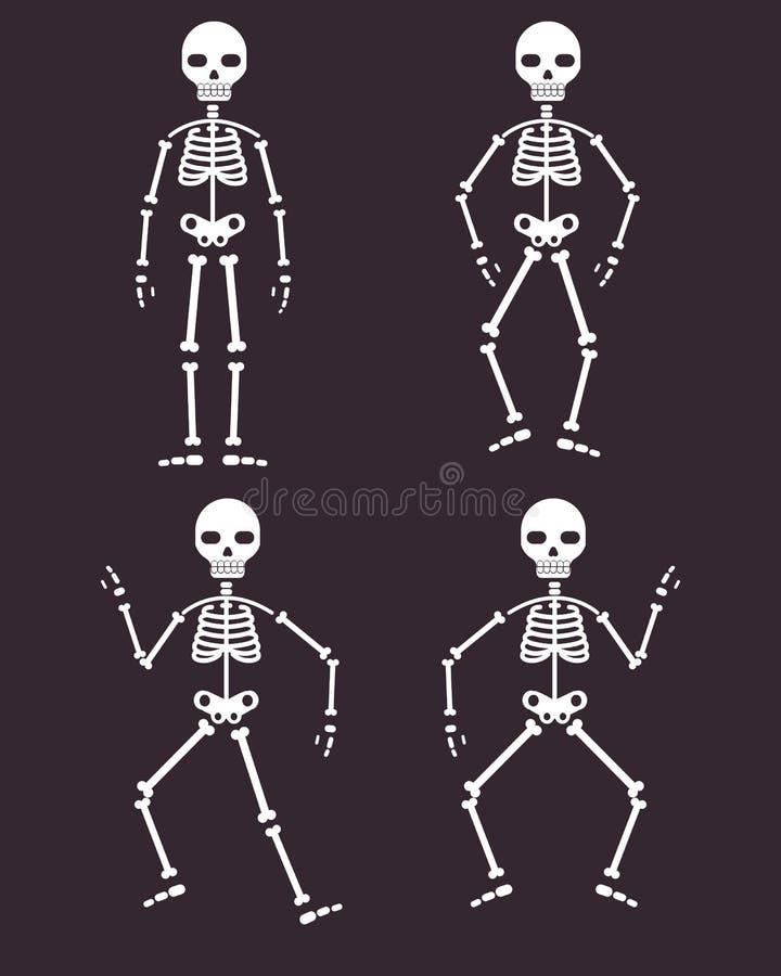 Halloween Poster, skeletons dancing banner or background for Party night vector illustration