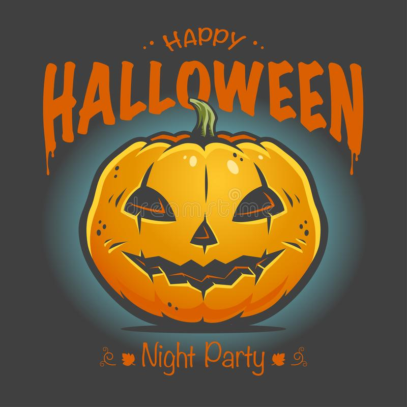 Halloween poster with smiling pumpkin stock photo