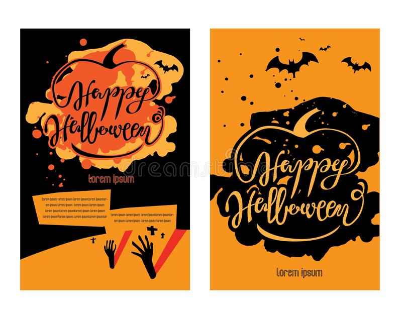 Halloween poster template. Holiday calligraphy Happy Halloween with the bats and pumpkin royalty free illustration