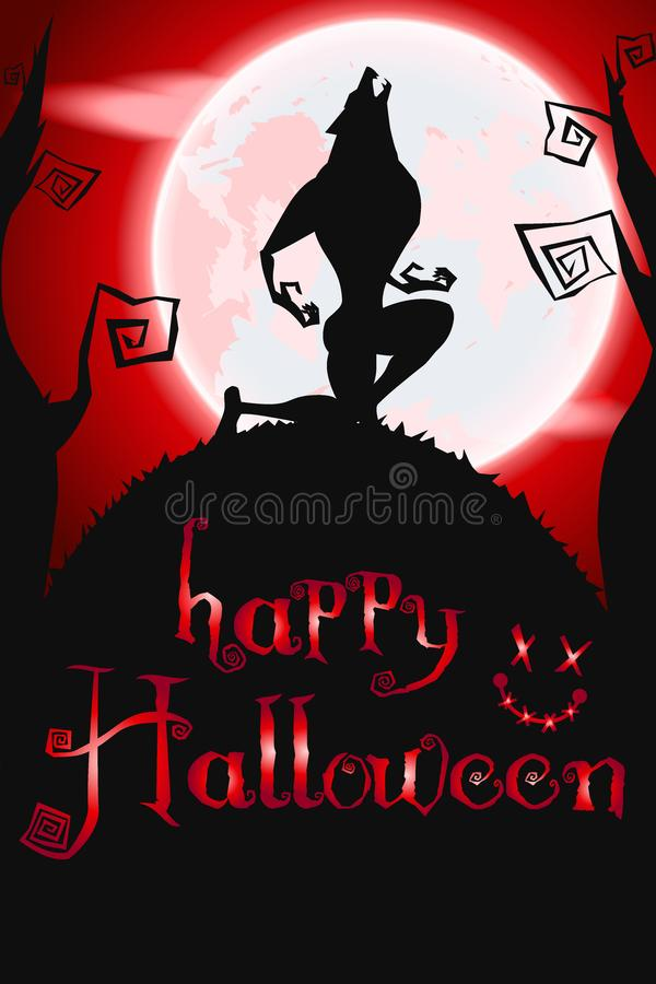 Halloween poster with werewolf royalty free illustration