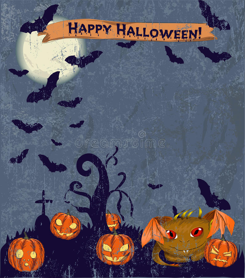 Free Halloween Poster With Cute Monster. Stock Photo - 33641140