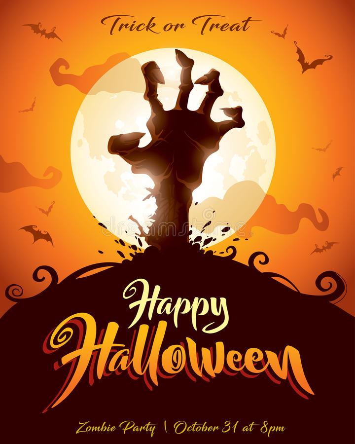 Halloween poster. Zombie party. vector illustration