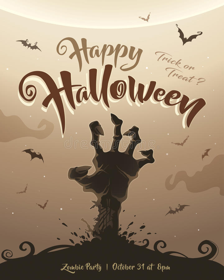 Halloween poster. Zombie party. stock illustration