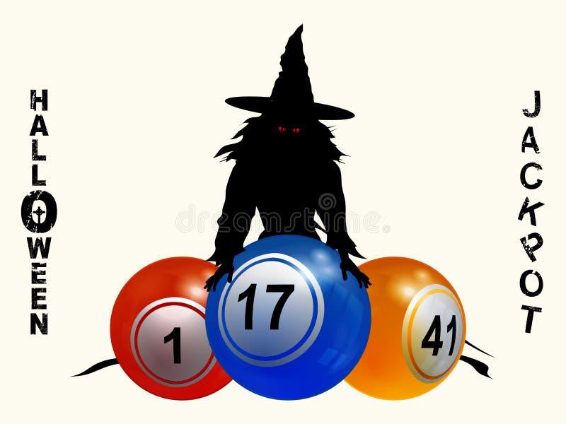 Halloween-potachtergrond met heks en ballen royalty-vrije illustratie