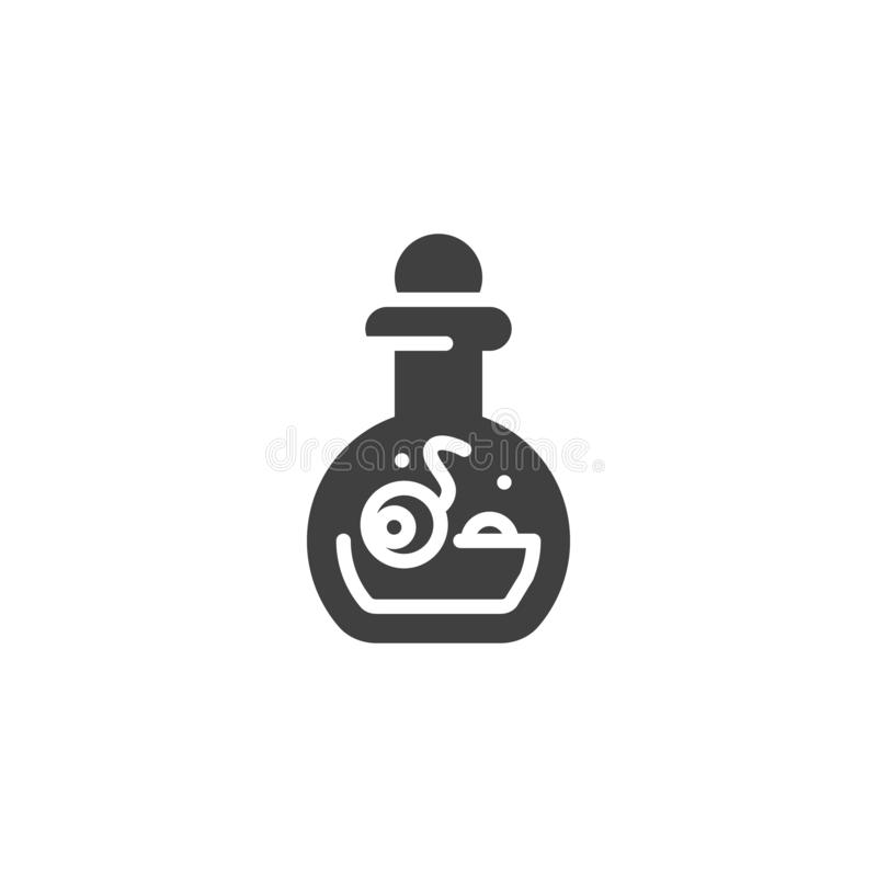 Halloween potion bottle vector icon. Filled flat sign for mobile concept and web design. Witch bottle with human eyeball glyph icon. Symbol, logo illustration vector illustration