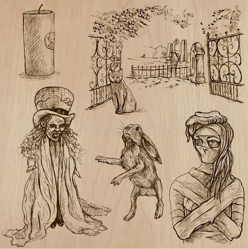 Halloween, potwory, magia - Wektorowa kolekcja ilustracji
