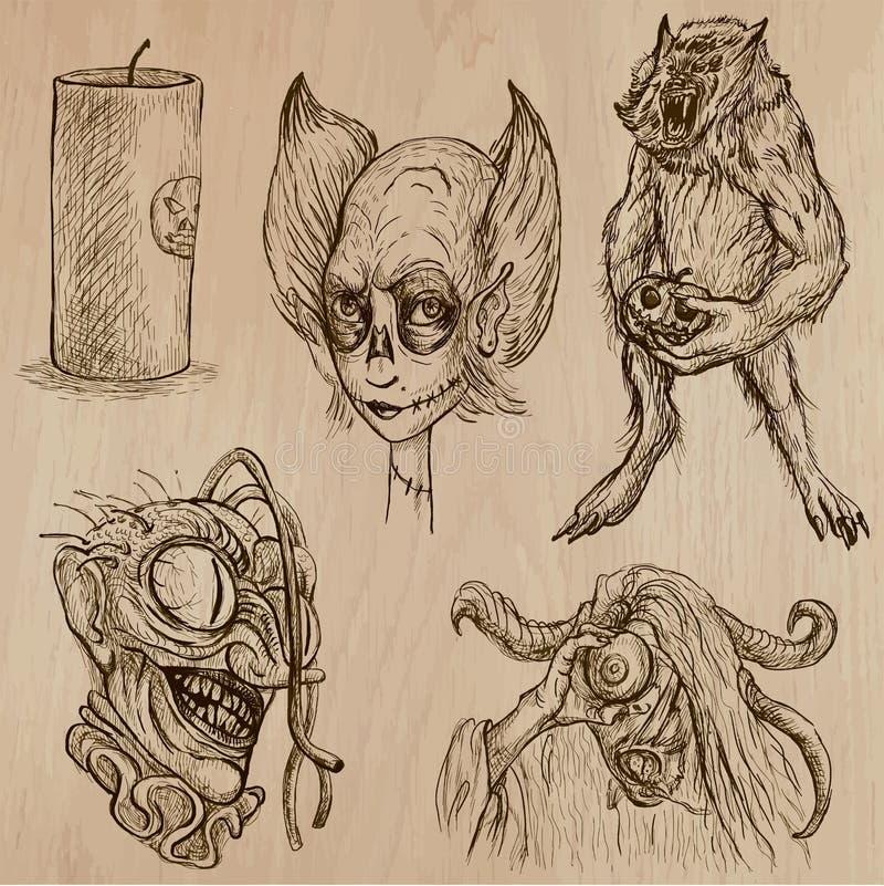 Halloween, potwory, magia - Wektorowa kolekcja royalty ilustracja