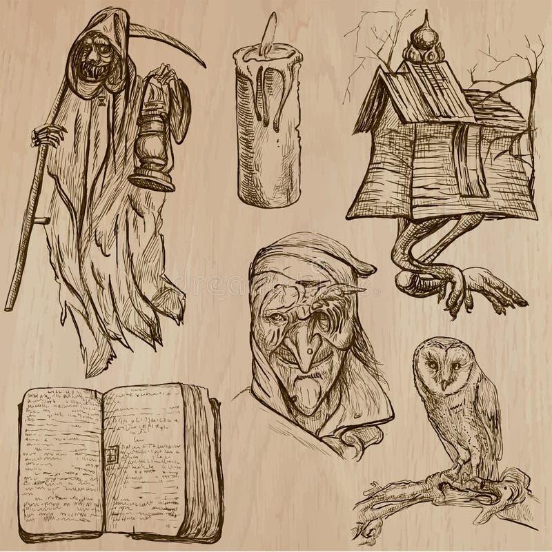 Halloween, potwory, magia - Wektorowa kolekcja ilustracja wektor
