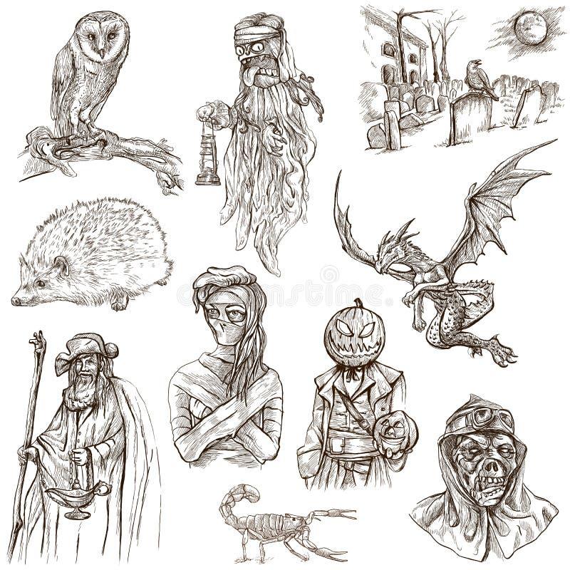 Halloween, potwory, magia - Wręcza patroszoną paczkę na bielu royalty ilustracja