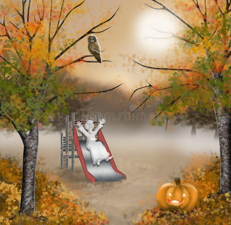 Halloween pouco fantasma, jogando no campo de jogos ilustração do vetor