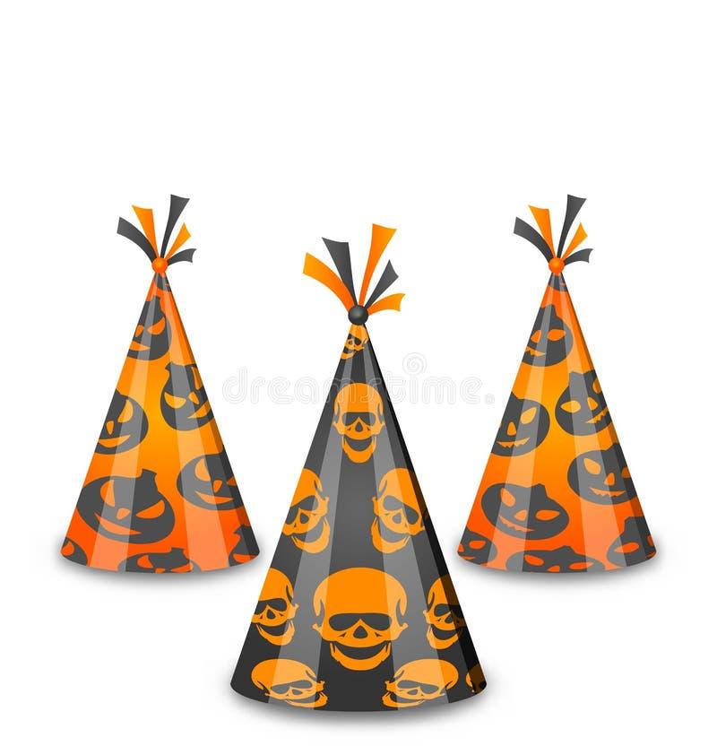 Halloween przyjęcia kapelusze odizolowywający na białym tle ilustracja wektor