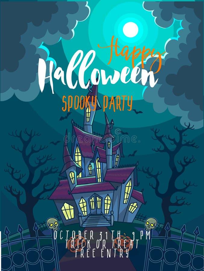 Halloween przyjęcia plakat Halloweenowa wektorowa ilustracja z strasznym domem, księżyc i banią, ilustracja wektor