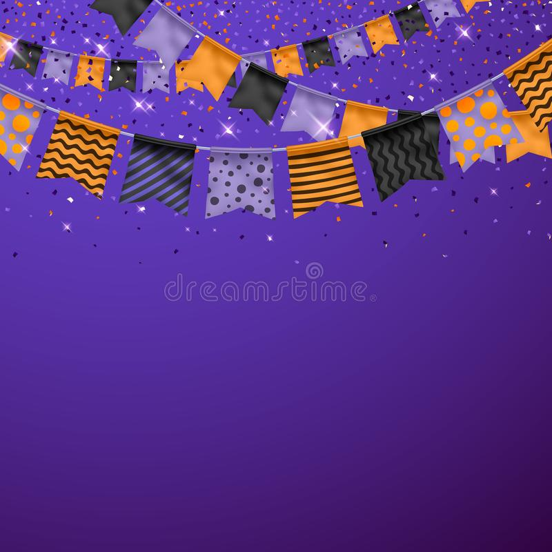 Halloween przyjęcia tło z flaga i confetti ilustracja wektor