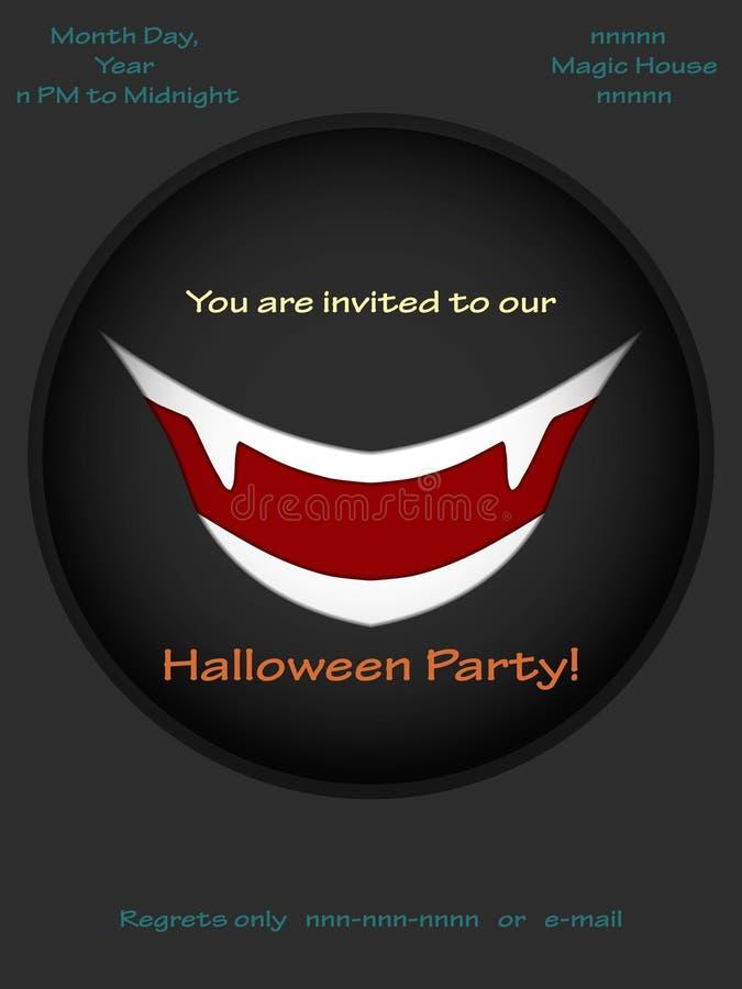 Halloween przyjęcia zaproszenia z wampira uśmiechem również zwrócić corel ilustracji wektora ilustracja wektor