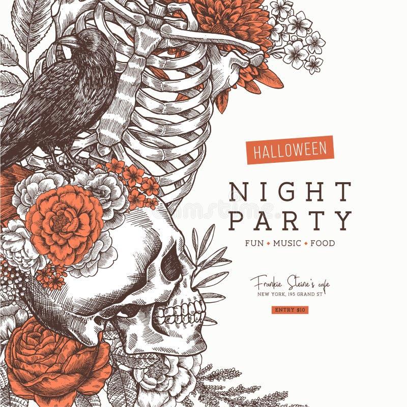 Halloween przyjęcia zaproszenie Rocznik anatomii kwiecisty tło również zwrócić corel ilustracji wektora ilustracja wektor