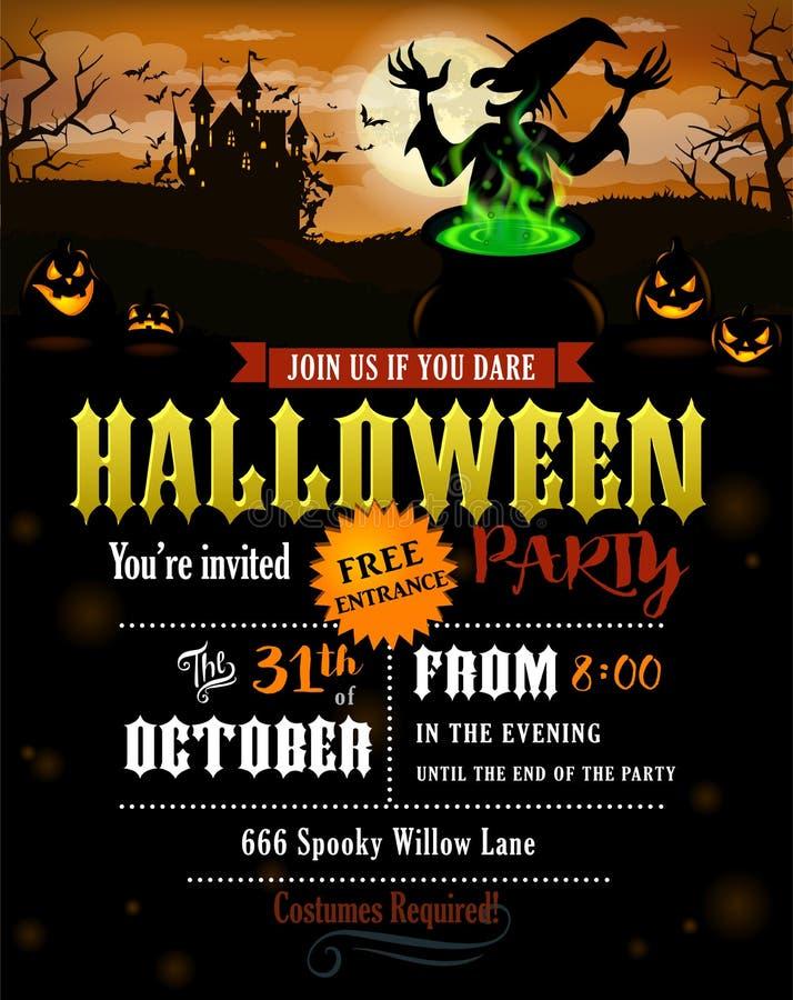 Halloween przyjęcia zaproszenie z kasztelem ilustracja wektor