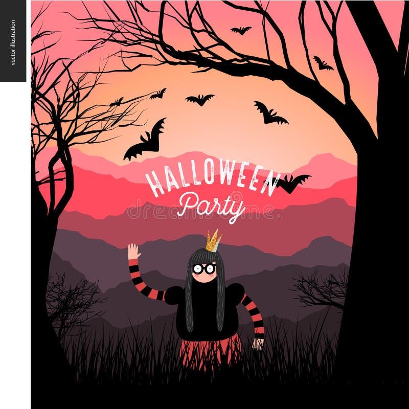 Halloween przyjęcie illustarted plakat royalty ilustracja