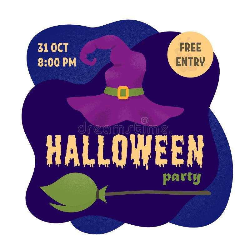 Halloween przyjęcie Plakat z czarownicami kapelusz i miotła wektor ilustracji