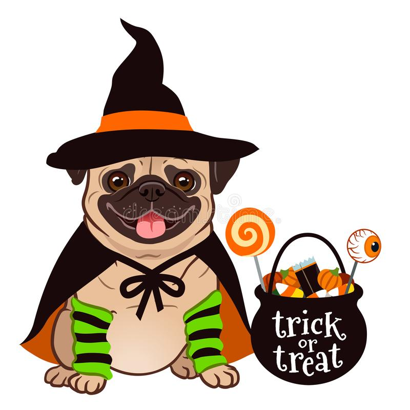 Free Halloween Pug Dog Vector Cartoon Illustration. Cute Chubby Sitting Pug Puppy In Witch Costume With Black Hat And Cape, Cauldron T Stock Photo - 128438330