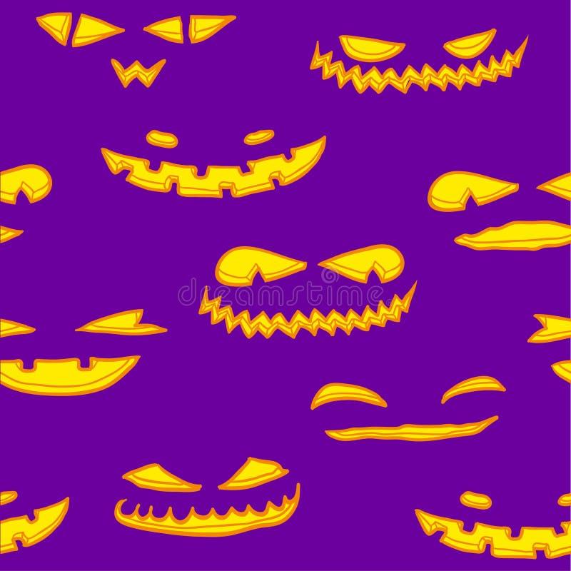 Halloween-pumkins Muster stock abbildung