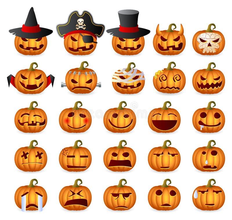 Halloween pumpauppsättning stock illustrationer