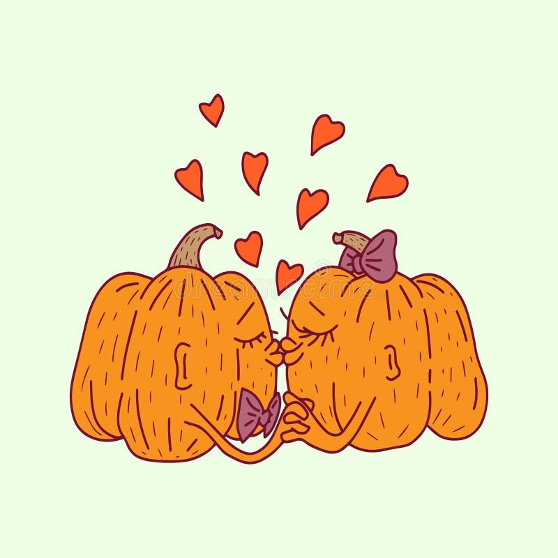 halloween Pumpavänner kysser royaltyfri illustrationer