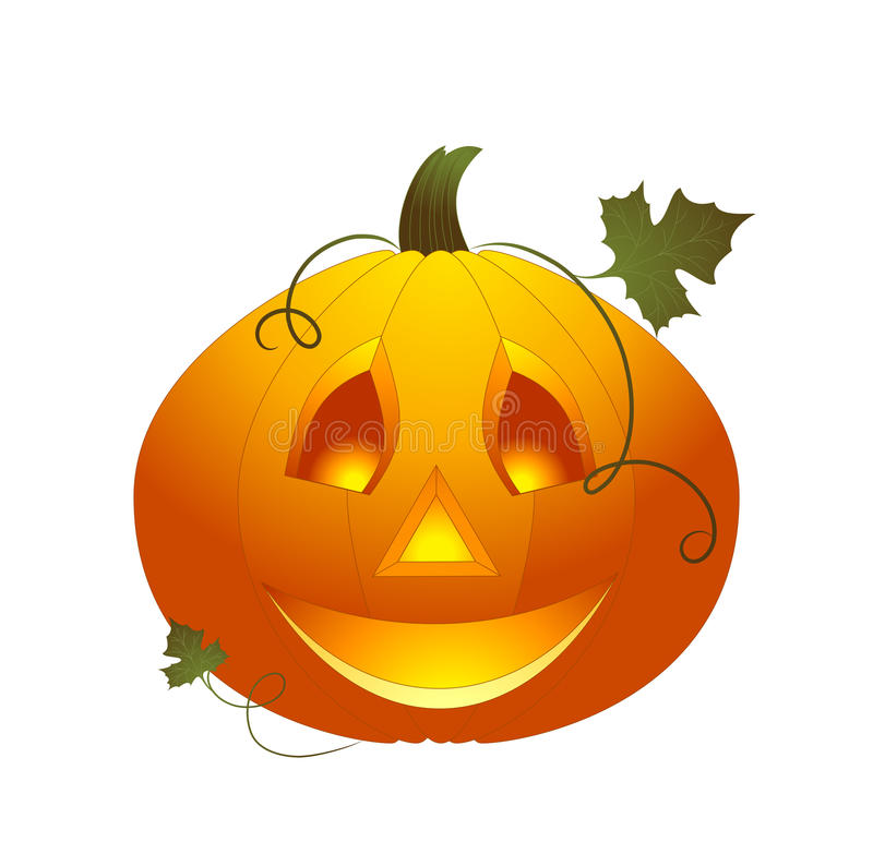 Halloween pumpkin. Vector helloween pumpkin with leaf and branch on white background stock illustration